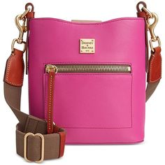 Dooney & Bourke Raleigh Small Roxy Bag ($268) ❤ liked on Polyvore featuring bags, brght pink, genuine leather bag, leather bags, strap bag, pink bag and vintage leather bag