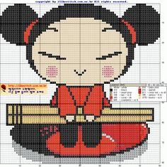 Pucca with Chopsticks Cross Stitch Pattern