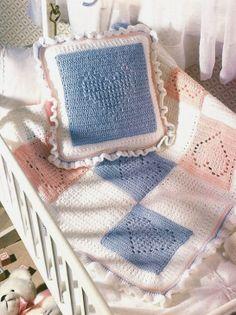Y383 Crochet PATTERN ONLY Nursery Hearts Baby by BeadedBundles, $3.95