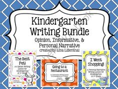 Kindergarten Writing Bundle ~ Informative, Opinion, & Personal Narrative product from Lisa-Lilienthal on TeachersNotebook.com