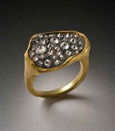 Todd Pownell: Black Top Ring, 18K gold ring with oxidized sterling silver top, set with pave diamonds (approx 1.40 TCW).