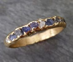 Raw diamond and Sapphires men's or women's Wedding Band Custom One Of a Kind Blue Montana Gemstone Ring Multi stone Ring byAngeline 0269