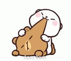 Me trying to wake him up Cute Love Images, Cute Love Gif, Cute Couple Cartoon, Cute Love Cartoons, Gifs Lindos, Cute Bear Drawings, Cute Kawaii Animals, Dibujos Cute, Beautiful Gif