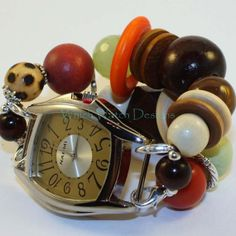 RE-DESIGNED Summer Wood.. Chunky Brown, Orange, Cream and Green Wood and Acrylic Interchangeable Beaded Watch Band