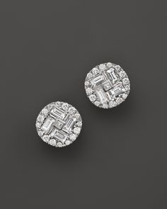 Roberto Coin 18K White Gold Diamond Baguette Stud Earrings