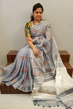 Color : Grey Fabric: Linen Length: Standard mtrs Blouse Piece: Included Wash Instructions: Cold Wash Only Sari Blouse, Saree Blouse Neck Designs, Fancy Blouse Designs, Saree Dress, Blouse Patterns, Kalamkari Saree, Elegant Saree, Half Saree, Cotton Saree