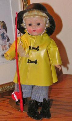 "Strung Vogue Ginny 1952 SPORT SERIES ""Fisherman"" COMPLETE w/Pole & Fish L@@K #hardplasticstrungVogueGinnydollSLEEPEYE"