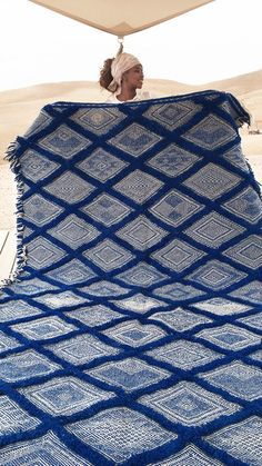 This fantastic carpet is made with two traditional techniques, flatweave (kilim) and knotted. Hand-woven geometric design wiht featuring wool blue and ivory. This style of Moroccan flat fabric is w...