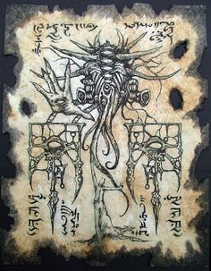 cthulhu larp Gate of Yog Sothoth Necronomicon page occult horror witchcraft dark pagan