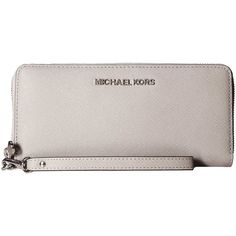 Michael Michael Kors Jet Set Travel Pearl Grey Continental Wallet ($151) ❤ liked on Polyvore featuring bags, wallets, grey, michael kors bags, travel wallet, grey bag, pearl bag and gray bag