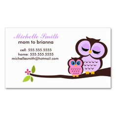 Mum and Baby Owl Calling Cards Business Card