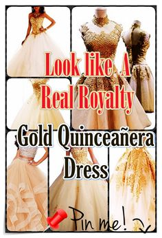 How to pick out Gold Quinceanera dress for the Quinceanera party -- the standard Latin American ritual which marks the passage of a female from childhood to adulthood. Gold Dress, Pink Dress, Blue Dresses, Prom Dresses, Formal Dresses, Quinceanera Party, Quinceanera Dresses, Bid Day, Different Dresses