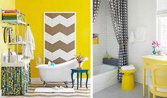 #decoração Cansou do banheiro branco ou de tons neutro? Confira ideias para deixá-los descolados e coloridos: http://bbel.me/1pDXJVX.