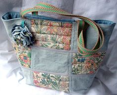 Patchwork Denim Tote Casual Bag Quilted Bag by tlcHaberdashery