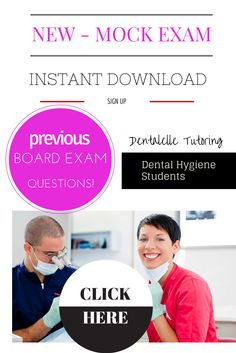 Dentalelle Tutoring - download our NEWEST Mock Exam with all previous board exam type questions! 100 Questions/Answers with full rationales - covers all aspects of the board exam blue print to really test your knowledge. For more mock exams and online prep courses go to: www.dentalelle.com with a 99.3% success rate we help dental hygiene students pass the exam!