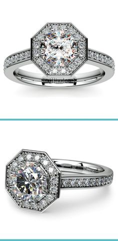 Thirty six round cut diamonds are prong set in this white gold diamond engagement ring setting, accenting your choice of center diamond.