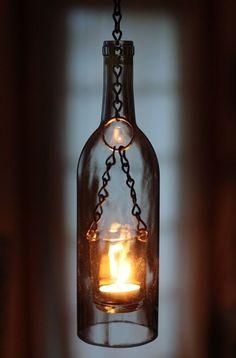 photophore bouteille verre