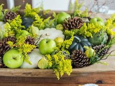 An old dough bowl or wood trencher makes a great low centerpiece when filled withseasonal pumpkins, gourds, pinecones and flowering branches. Our step-by-step instructions make it easy to recreate this oh-so-trendy, rustic look.