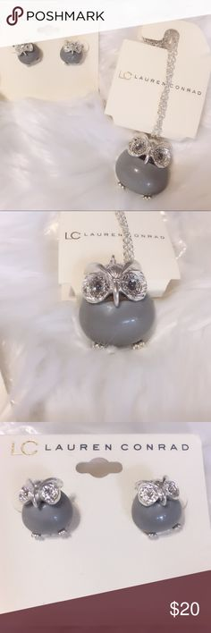 🎉Host Pick🎉Grey Owl Drop Necklace and Earrings Lauren Conrad Brand  Gray Owl Drop Pendant Necklace and Earrings Set new in package- Never Worn *BUNDLE WITH ANY OTHER ITEM AND receive 10% discount ** orders over 25.00 receive free heart pendant necklace (while supplies last) *** If interested in buying separately comment below LC Lauren Conrad Jewelry Necklaces
