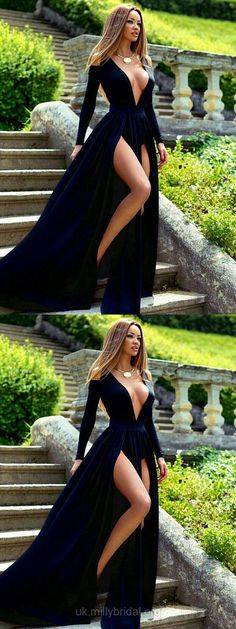 Dark Navy Prom Dresses With Sleeves, Long Prom Dresses With Slit, Formal Prom Dresses for Teens, Velvet Evening Dresses 2018