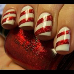 Out of season but candycane nails for Christmas!