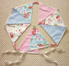 """100% Cotton, Cath Kidston Blue & Pink """"Rosali"""" Fabric Bunting, With Ribbon and Wooden Heart Detail - 7.5ft Long"""