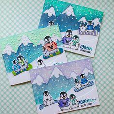 I'm coloring lot of penguins today (*^^*) #averyelle #mamaelephant #lawnfawn #christmascard #distressink #handmadecard  新入りペンギン達を使っていろいろお試し中。上2枚の雪はエンボシングペースト+パウダーでぷっくりキラキラ(*^^*) しかし真ん中のは降らせ過ぎた!(≧Д≦) #クロップパーティー #手作りカード