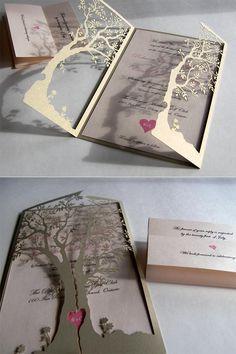 Love tree laser cut wedding invitation inspiration.