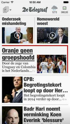 """beepRoger did the interaction design for """"De Telegraaf"""" iPad and iPhone app, a Dutch daily newspaper."""
