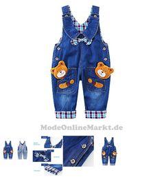 0759218183875 | #Baby #Jungen #Mädchen #Denim #Latzhose #Kleinkind #Hosenträger #Jeans #Overall #Bärchen mit #Schleife  #8211; #80