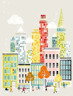 Digital Download PDF Counted Cross Stitch Pattern of a print of New York City. Mpdern, fun, and bright.