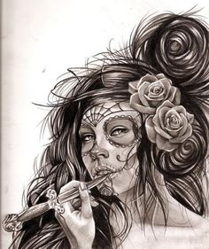 Sugar Skull sketch. Would make awesome tattoo