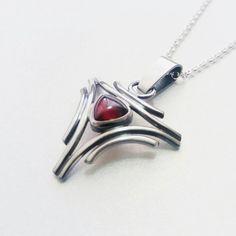 Garnet pendant sterling silver pendant necklace boho chic