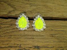 Neon Yellow Crystal Teardrop Silver Plated Stud by rockspapermetal, $12.50
