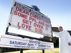A not-so-subtle announcement by Father Rod of Gosford Anglican Church in Gosford, NSW. Compassionate love xx