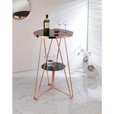 Acme Jarvis Bar Table in Black Glass and Rose Gold Acme Furniture, Dining Furniture, Furniture Online, Metal Furniture, Furniture Design, Round Shelf, Gold Rooms, Pub Table Sets, Grey Oak