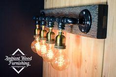 Pipe barn wood Industrial Bathroom Vanity Light by AmbientWood