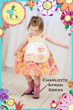 Girls Apron Dress PATTERN: Charlotte Apron Dress - Original Printed Sewing Pattern - Size 6 Month through 8 Years. $12.50, via Etsy.