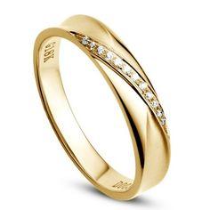 Alliance Femme en or jaune. Sertissage diamants 0.029ct