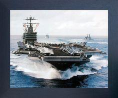 Aircraft Carrier USS John C. Stennis Navy Ship Military Aircraft Wall Decor Espresso Framed Picture Art Print (20x24)