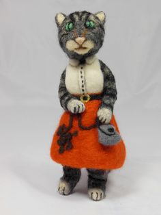 Grey Tabby Cat in a Poodle Skirt. $200.00, via Etsy.