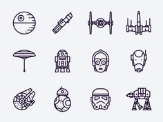 Star Wars free icons - Star Wars Paint - Ideas of Star Wars Paint - Hi folks! Rogue One is absolutely awesome so I decided to create a set of 12 icons based on all saga. Feel free to use them for commercial or personal use. More free icons is coming soon! Star Wars Vector, Star Wars Icons, Star Wars Characters, Star Wars Tattoo, War Tattoo, R2d2 Tattoo, Death Star Tattoo, Batman Tattoo, Book Tattoo