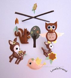 """Baby Mobile - Nursery Mobile - Brown Neutral crib Mobile - """"Kawaii Animals In the Dark Jungle"""" Mobile  (Custom Color Available)"""