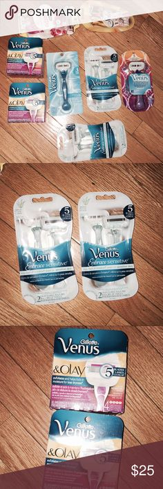 NWT Venus BIC and Schick Razors 2 four count Venus and Olay refill packs 2 Venus embrace sensitive 1 Venus original  1 Venus embrace pink package 1 Schick Quattro 1 BIC soleil  All sealed new in box never used VENUS Other