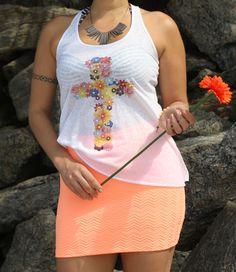 Regata cruz floral + mini saia