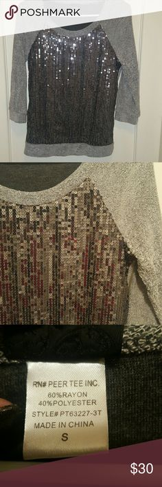 Daytrip sequin top Front is all sequin, with grey soft poly sleeves and back! Minor pilling on inside sleeves. Worn once. Daytrip Tops