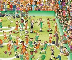 Soccer game. Page no. 7 of Find the Cutes. Will be published in 2014. A search book for children. www.findthecutes.com. #Cutes #Children #Funny #Cartoon #Cartoons #Animation #Illustration #Drawings #Soccer #Boys #Referee #Coach #Find #Books #Book