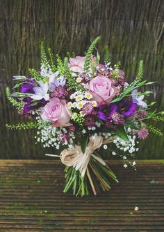 rustic wild purple wedding bouquets