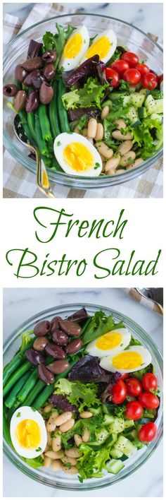 French Bistro Salad An Easy Version Of The Classic French Nicoise Salad That's Served In Paris Cafes. Crisp, Filling, And Anyone Can Make It Recipe At Well Plated Bistro Salad, Bistro Food, Cafe Bistro, Healthy Salads, Healthy Eating, Healthy Recipes, Vegetarian French Recipes, French Salad Recipes, Easy French Recipes