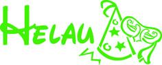 Applikationsaufkleber, Dekorfolie - Schriftzug HELAU, lieferbar in 8 Farben, Größe ca. 15 cm